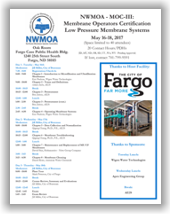 NWMOA Membrane Operators Certification - MOC-III: Low Pressure Membrane Systems - Fargo, ND - May 16-18, 2017 @ Oak Room - Fargo Cass Public Health Bldg. | Fargo | North Dakota | United States