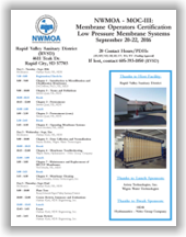 NWMOA Membrane Operators Certification - MOC-III: Low Pressure Membrane Systems - Rapid City, SD - Sept. 20-22, 2016 @ Rapid City | South Dakota | United States