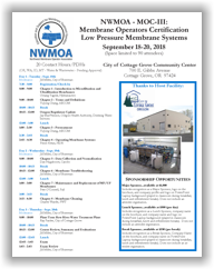 NWMOA Membrane Operators Certification - MOC-III: Low Pressure Membrane Systems - Cottage Grove, OR - September 18-20, 2018 @ City of Cottage Grove Community Center - Shepherd Room | Cottage Grove | Oregon | United States