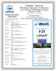 NWMOA Membrane Operators Certification - MOC-III: Low Pressure Membrane Systems - Kennewick, WA - Oct. 3-5, 2017 @ Kennewick Police Department | Kennewick | Washington | United States