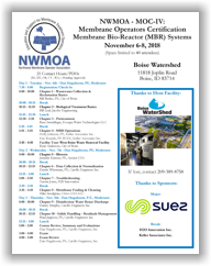 Membrane Operators Certification - MOC-IV: Membrane Bio-Reactor (MBR) Systems - Boise, ID - Nov. 6-8, 2018 @ Boise Watershed | Boise | Idaho | United States