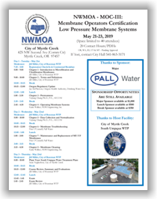 NWMOA Membrane Operators Certification - MOC-III: Low Pressure Membrane Systems - Myrtle Creek, OR - May 21-23, 2019 @ City of Myrtle Creek Community Center | Myrtle Creek | Oregon | United States